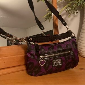 Handbags - Coach Black & Purple POPPY Small Purse